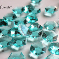 125 MINECRAFT PARTY Edible Blue DIAMONDS Edible Sugar Jewels Barley Sugar Hard Candy Cake Cupcake Decor 6.5 oz