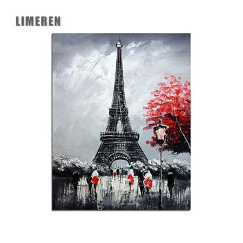 Paris Eiffel Tower Modular Picture Painting By Numbers On Canvas DIY Coloring Drawing By Numbers For Modern Wall Art Picture