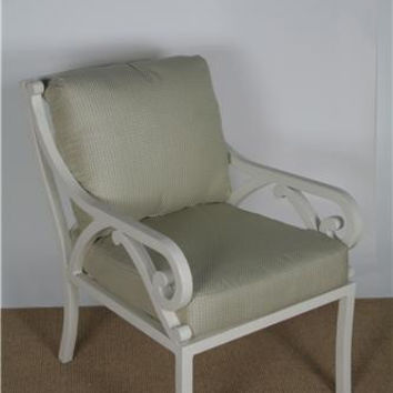 """Brown Jordan """"Empire"""" cast aluminum dining arm chair w/ cushions, Strand finish (MSRP $2,040.00), Free Shipping"""