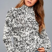 Braxton Black and White Funnel Neck Knit Sweater