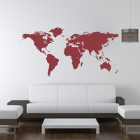 Wall Decal World Map Vacation World Traveler Geography Countries Gifts for Him Gifts for Her Dorm Decor Office Den