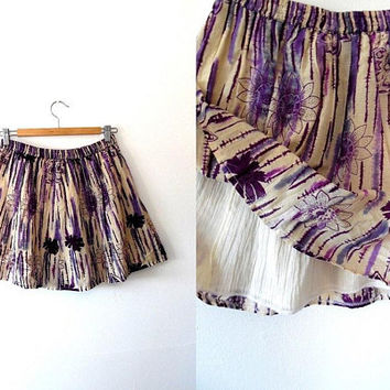 Tropical flower print skirt / palm tree / beige / amethyst / dark purple / retro / vintage / lined / elasticated / flared summer mini skirt