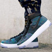 DCCKBE6 Nike Air Force 1 Flyknit Mid-High 817420-002 Blue For Women Men Sneakers