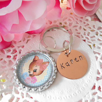Cute Deer Keychain With Hand Stamped Name Tag Shiny Or Brushed Copper Made To Order