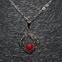 Silver and Red Stone Pointed Teardrop Shaped Pendant Necklace