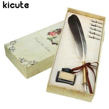 LMFN3C Kicute Black Vintage Quill Feather Dip Pen Writing Ink Set Stationery Gift Box With 5 Nib Wedding Gift Quill Pen Fountain Pen