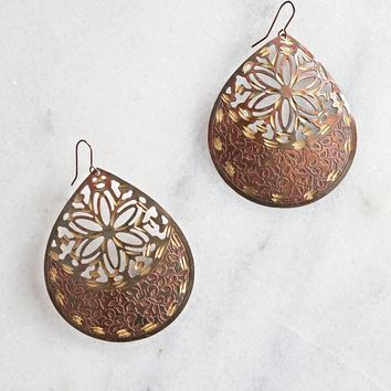 Modern Teardrop + Antique Bronze Metal Earrings