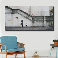Banksy's Balloon Girl HD Wall Art Canvas Poster And Print Canvas Painting Decorative Picture For Office Living Room Home Decor