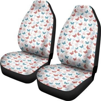 Butterfly Pattern White Car Seat Covers
