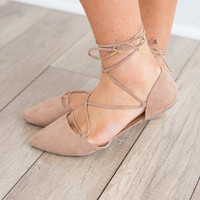 Lace Up Pointed Toe Flats - Taupe