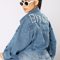 Bitch Mode Denim Jacket - Medium Wash
