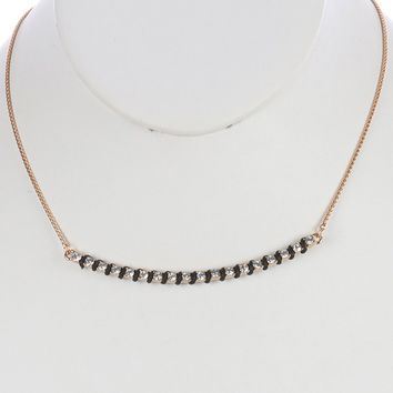 Clear Pave Crystal Stone Metal Arch Bib Necklace