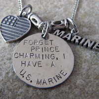Forget Prince Charming. I have a U.S. Marine Handstamped Necklace