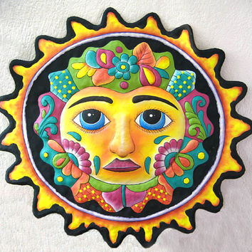 "Sun - Hand Painted Metal Art - 17"" Sun Wall Hanging - Recycled Haitian Steel Drum Garden Art - Outdoor Metal Wall Art - M-100-BK-17"