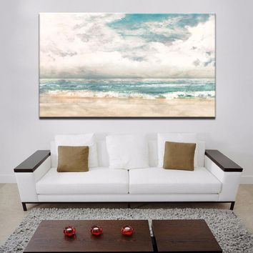 70x100cm - Canvas Prints Wall Art - Turquoise Modern Abstract Beach Surf Canvas Wall Art Prints On Canvas For Living Room Decor
