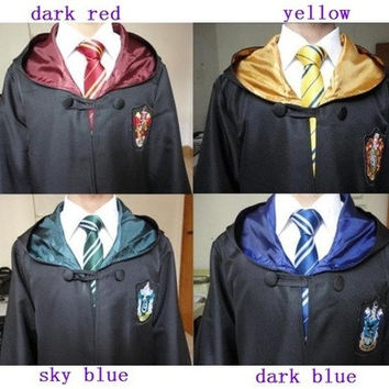 HarryPotter Adult Robe Cloak Cape Cosplay Gryffindor Slytherin Hufflepuff Ravenclaw [9221633796]
