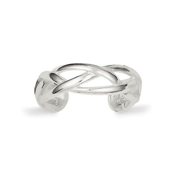Woven Toe Ring in Sterling Silver