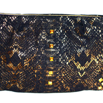 Studded Gold Clutch. Snake Print Clutch. Gold Embossed Purse. Gold Pyramid Studs. Evening Bag. Gold Print Denim. Free US Shipping.