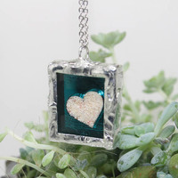 Heart Beach pendant Bermuda pink sand Soldered glass pendant Blue Mirror
