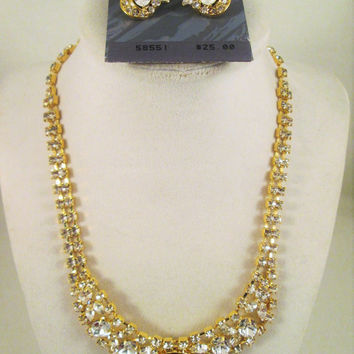 Trifari  Crystal Rhinestone Necklace Stud Earrings NOS Jewelry Set Gold Tone Wedding