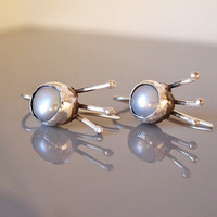 Bezel Set Sterling Silver Earrings, Grey Pearl Dangle Earring, Abstract Art Jewelry