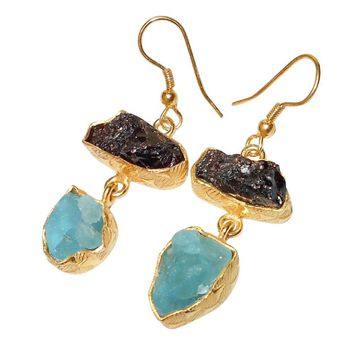 Gold-plated Brass Garnet and Apatite Earrings