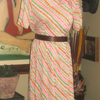 Plus Size Vintage Neon Abstract Dress, 1960-70, XL, 12-14, Retro Fashion, Antique Alchemy