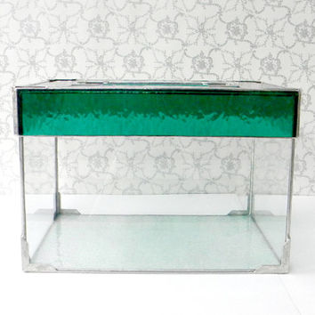 Teal Green Art Deco Stained Glass Wedding Card Box, Wedding Card Holder Box, Reception Decoration, Keepsake Box, Silver