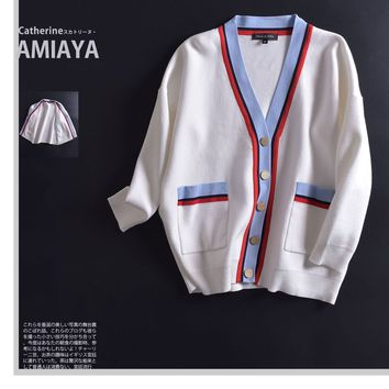 Women All-match Fashion Knitwear Multicolor Preppy Style Stripe Long Sleeve Cardigan V-Neck Sweater Coat