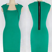 Green Collar Sleeveless Back Zipper Midi Dress