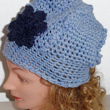 Crochet Hat with flower, Light Blue and Cashmere Blue Multi Color Hat with Navy Blue Flower made from 100% Merino Wool Beret Style