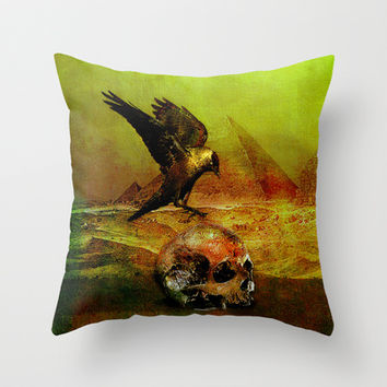 The crow of Egyptian plains Throw Pillow by Ganech joe