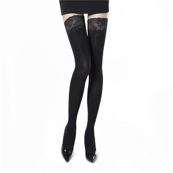 Ciysty 2018 Women Lace Hosiery Silicone non-slip Stay Up Thigh High Silk Stockings Hose Ultra Sheer Over Knee Stockings