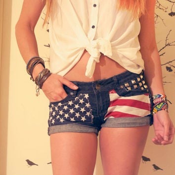 Low Rise American Flag Panel Shorts