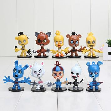 10Pcs/Set 6cm   At  Bobblehead key Chain Ring Freddy Doll Kids Action Figures Toy