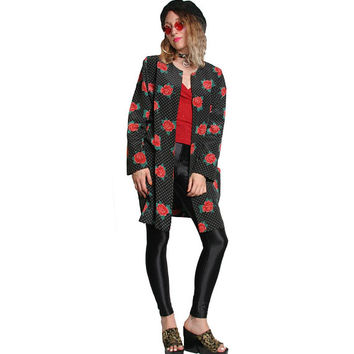 90s Vintage Rose Duster - Rose Print Oversized Jacket - Baggy Blazer Size Large XL Womens - Polka Dot Black - Goth Grunge Robe Red Roses