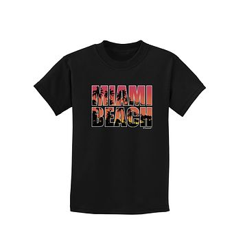 Miami Beach - Sunset Palm Trees Childrens Dark T-Shirt by TooLoud