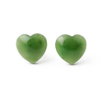 "Canadian Nephrite Jade Heart Stud Earrings, 0575 - 10% off - Promo Code ""SUMMER17"""