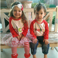 Naughty and Nice Sibling Raglan Shirts, Christmas Outfit, Red White and Green Chevron Christmas Shirts, Christmas Photo Prop Outfit