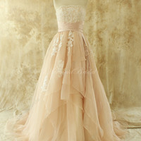 Simple blush A line organza lace wedding dress