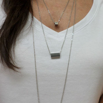 Long Triple Layer Silver Bar Pendant Necklace - 3 Bar Sizes - Silver Bar Pendant Necklace - 3 Silver Bar Layering Necklace
