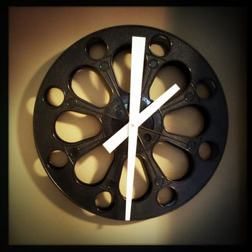 Large Black and White Wall Clock made from Recycled Movie Film Reel With White Hands / Great in the Screening or Media Room