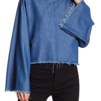 Kendall & Kylie | Frayed Chambray Blouse | Nordstrom Rack
