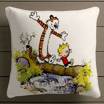 Calvin and Hobbes Square Pillow Case Custom Zippered Pillow Case one side and two side