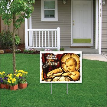 Happy Birthday Jesus (Stained Glass Window) Christmas Yard Sign