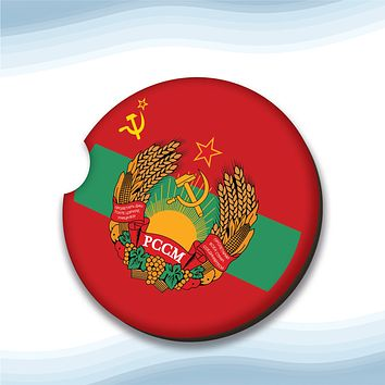 Moldavian Soviet Socialist Republic Coat of Arms Car Cup Holder Coasters Hardboard (Set of 2)