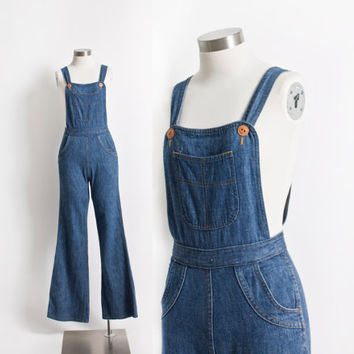 Vintage 70s Overalls - Blue Denim High Waisted Bell Bottoms Jeans Big Yank - XS Extra Small