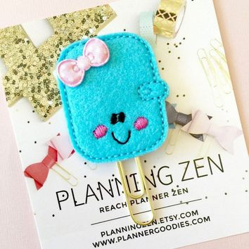 Turquoise Kawaii Planner with Bow Felt Planner Clip