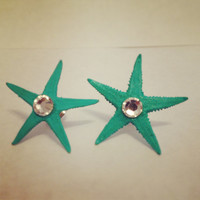 Tiffany Blue Real Starfish Earrings by byElizabethSwan on Etsy