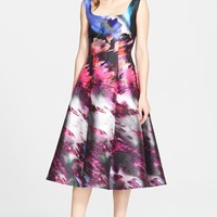Women's St. John Floralscape Print Cotton & Silk Mikado Dress,